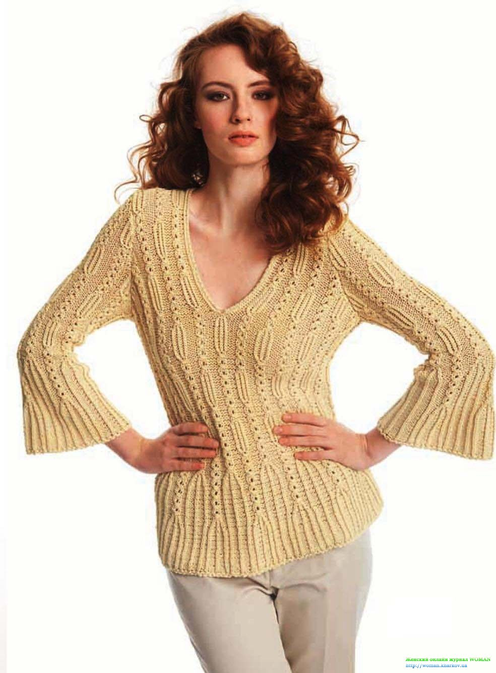 Пуловер ажурной резинкой с расширенными рукавами