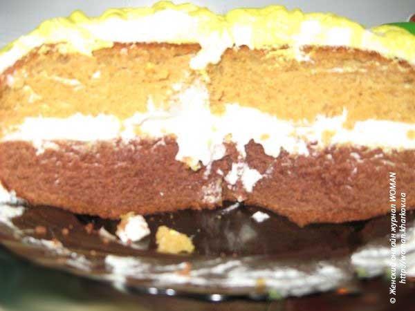 Торт сметанный с манным кремом