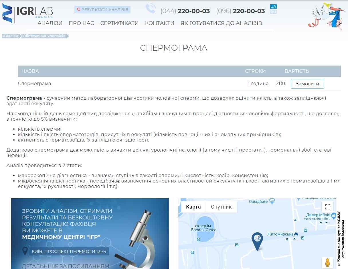Спермограма у Києві